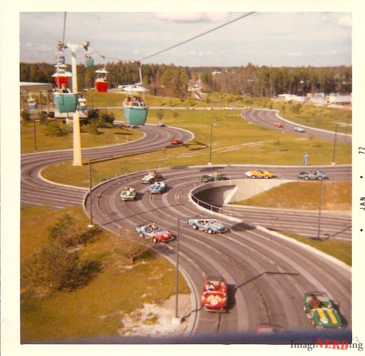 vintage magic kingdom photos The Grand Prix Raceway from the Skyway.