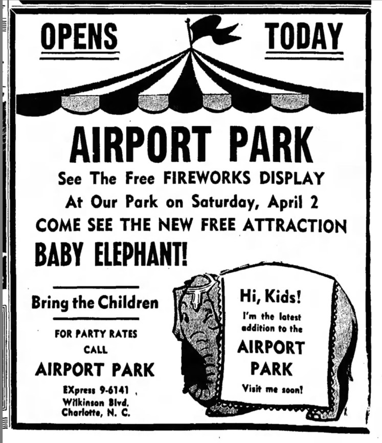 airport amusement park Charlotte 1955