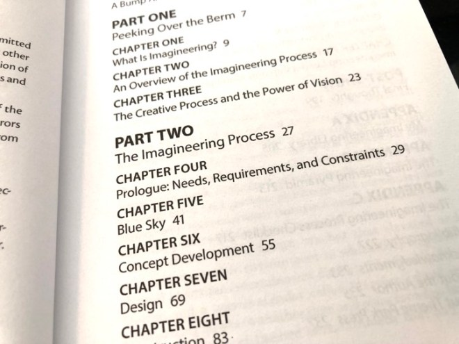 imagineering process table of contents
