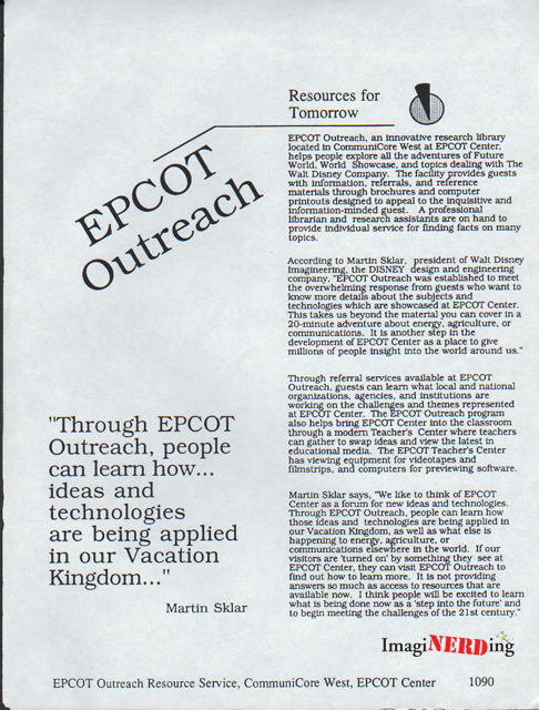 epcot center outreach library