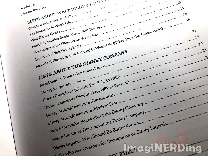 partial table of contents of Top Disney by Christopher Lucas