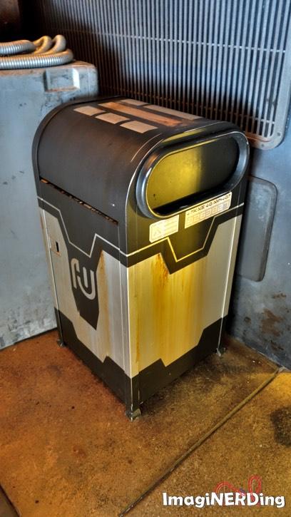 a trash can at star wars galaxy's edge at Disney's Hollywood Studios