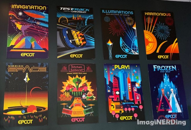 posters of epcot attractions at the epcot experience