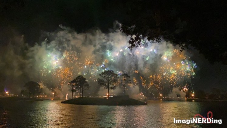 fireworks over world showcase lagoon from Epcot Forever
