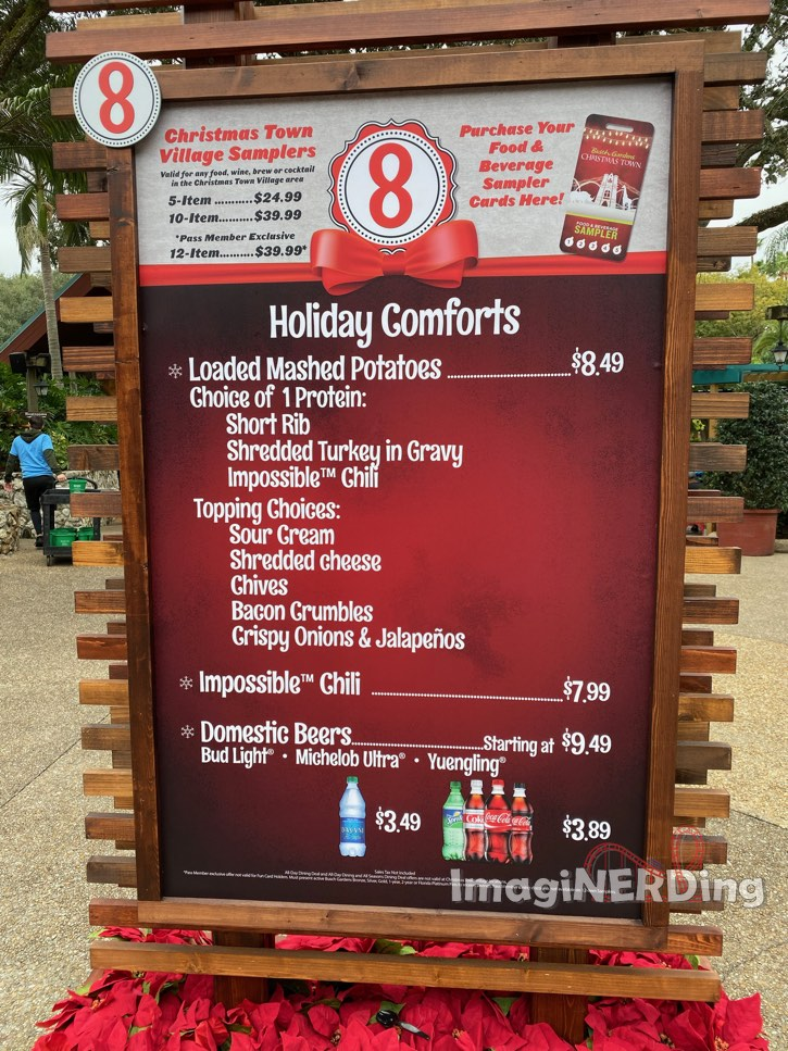 menu board of food choices from Busch Gardens tampa Christmas Town village 2019