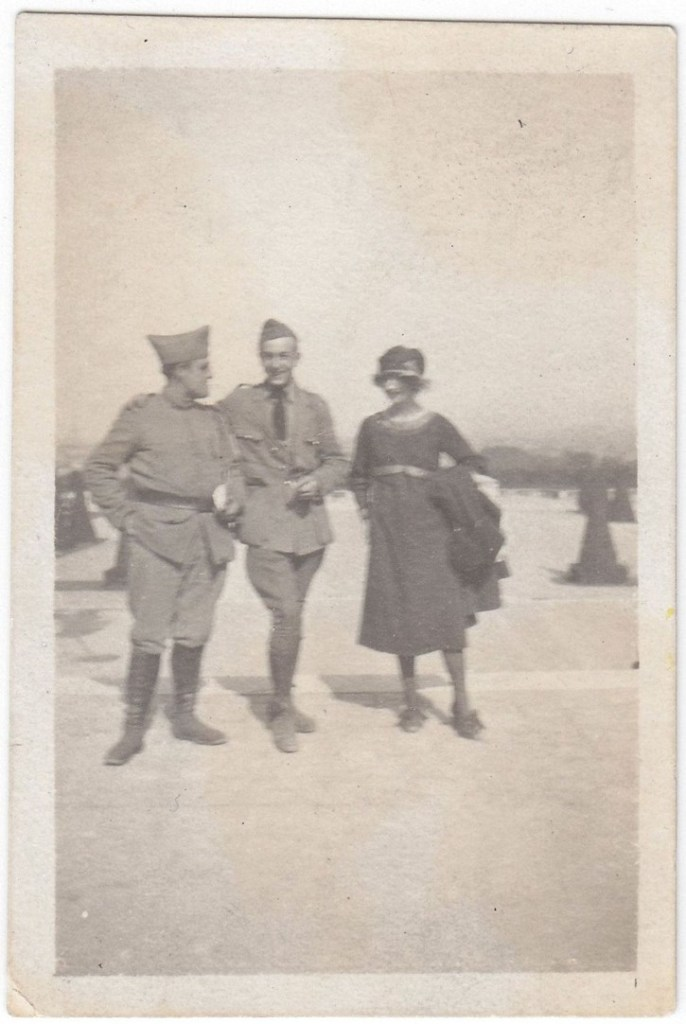image of Walt Disney with three people in France after World War I.