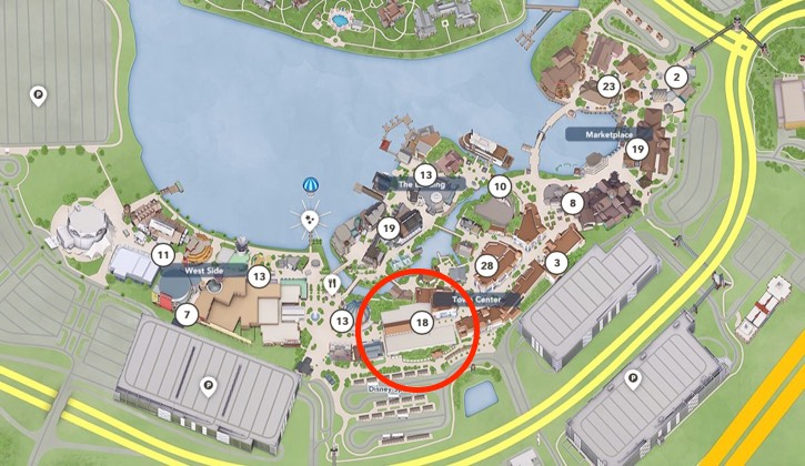 map showing the layout of Disney Springs with the Market Building (1913) circled in red