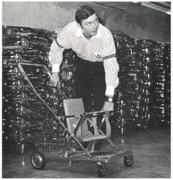 image of a cast member putting together strollers at the magic kingdom in 1972