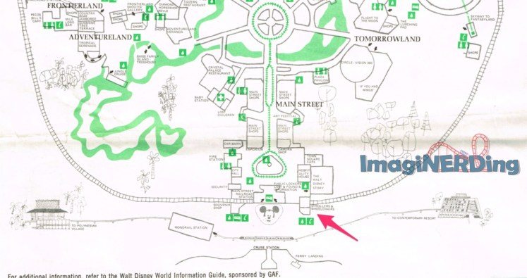 map of the magic kingdom from 1973 that shows the stroller shop