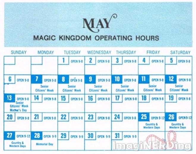 magic kingdom operating calendar for May 1973 featuring senior citizens week