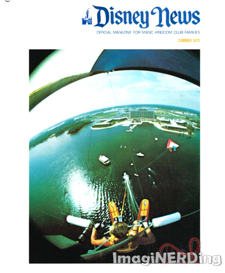 cover of the Summer 1973 Disney News magazine featuring a 300 foot high view of the Contemporary Resort