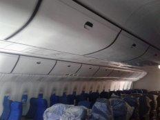Hasil pemasangan stiker interior mockup pesawat boeing 777 asrama haji sudiang