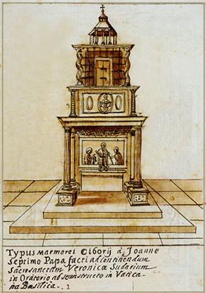 Abb. 10: Ziborium der Veronika in St. Peter von 1197 (Album Grimaldi)
