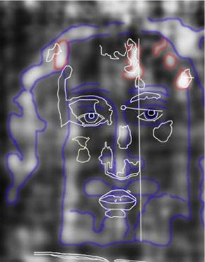 Abb. 30: Antlitz-Konturen auf der Rückseite des Grabtuches mit Skizze