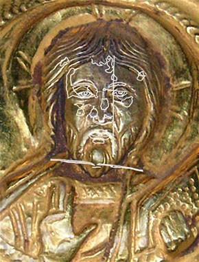 Abb. 16: Ausschnitt Christusmedaillon mit Skizze