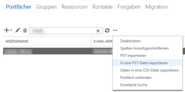 Microsoft Exchange 2013/2016: Postfach als PST via GUI exportieren