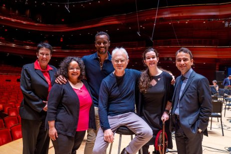 From left to right: Jennifer Higdon, Gabriela Lena Frank, Carlos Simon, John Adams, Jessica Hunt, and Iman Habibi. The Philadelphia Orchestra's Verizon Hall