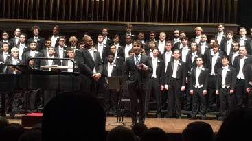 Iman Habibi with Eugene Rogers and The University of Michigan Men's Glee Club at Hill Auditorium, prior to their performance of Habibi's Out of the Cradle