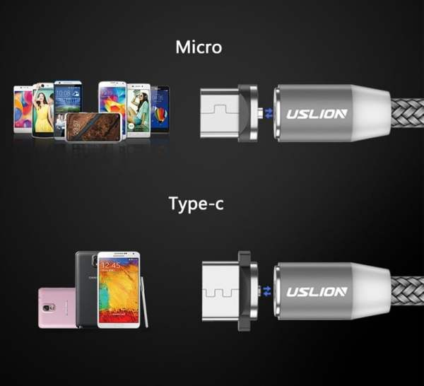 2.4A Type C Cable Magnetic Micro USB Cable Smartphone 5