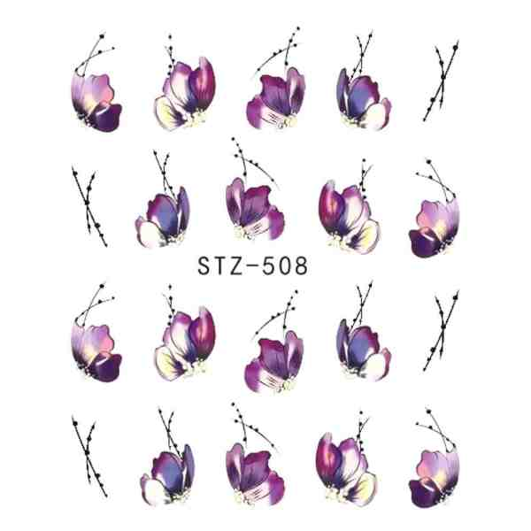 Flower Water Transfer Nail Stickers Beauty & Health 6