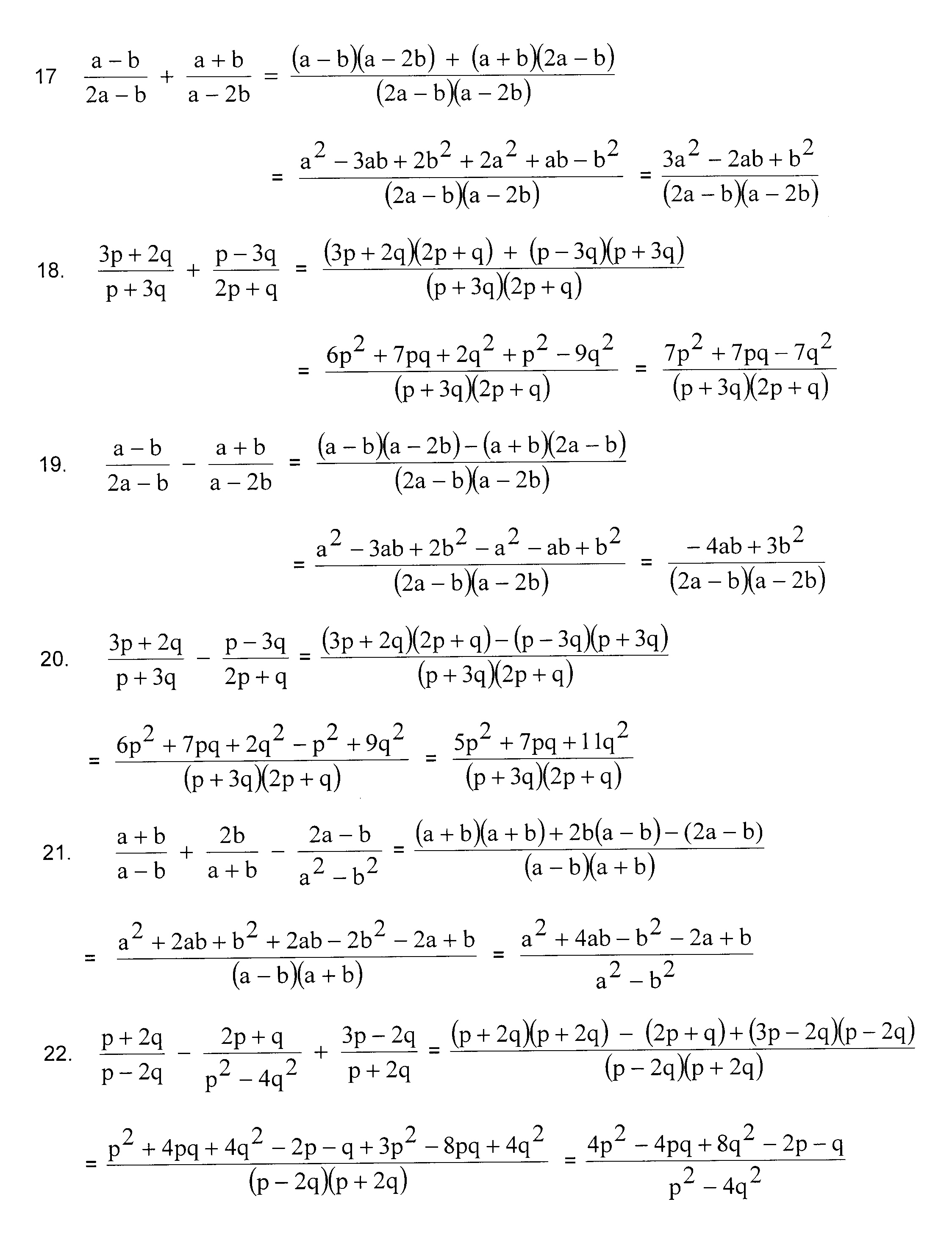 Algebra Worksheets Year 11