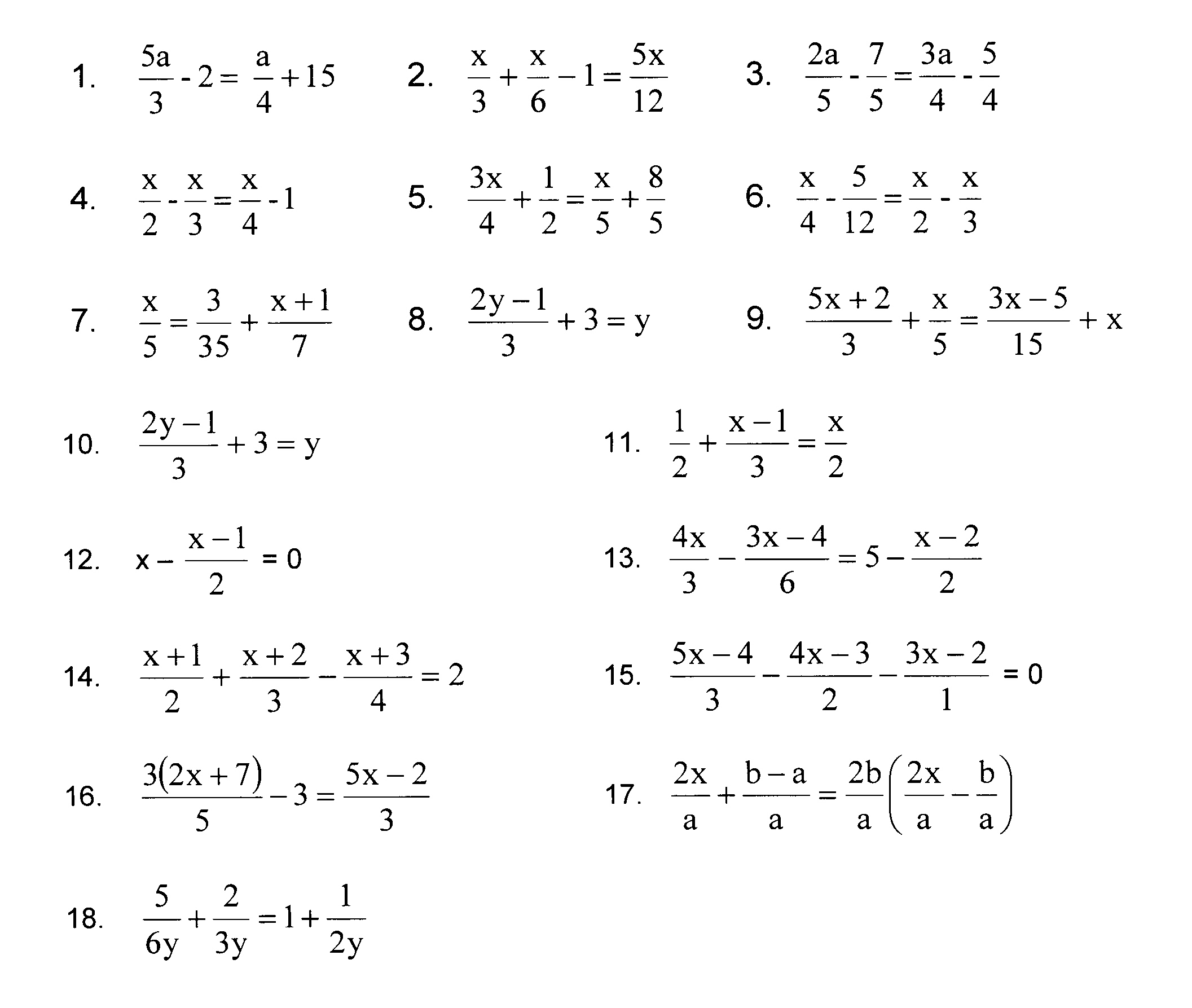 Multi Step Equations With Fractions Worksheet Kuta