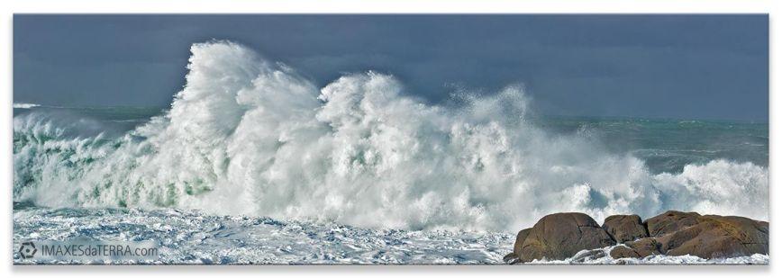 Olas de Muxía, Comprar fotografía de Galicia Muxía Temporal Paisaje Horizonte Mar Decoración naturaleza