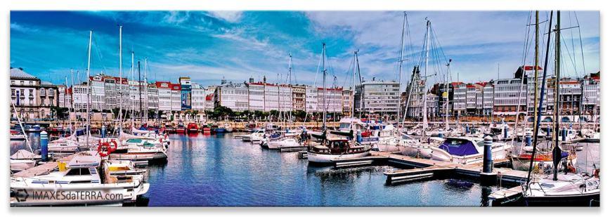 Puerto Deportivo Marina A Coruña, Comprar fotografía de Galicia A Coruña A Marina Puerto deportivo Galerías Náutico Decoración Panorámica