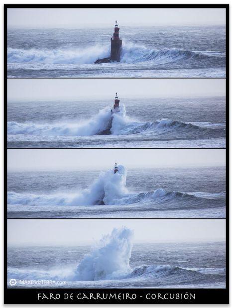 Faro de Carrumeiro, Comprar fotografía Faros de Galicia Carrumeiro Chico Corcubión Temporal Mar olas Naturaleza Decoración