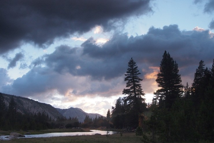 McClure Meadows sunset, looking west.