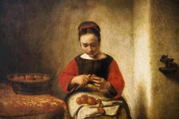 Young Woman Peeling Apples - Nicolas Maes