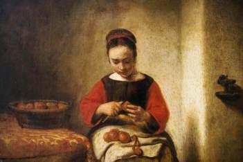 Young Woman Peeling Apples - Nicolas Maes