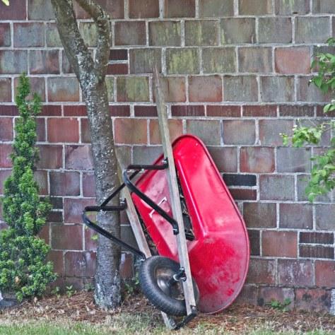 a red wheel barrow