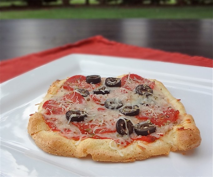 Try this low carb crust with pepperoni and black olives