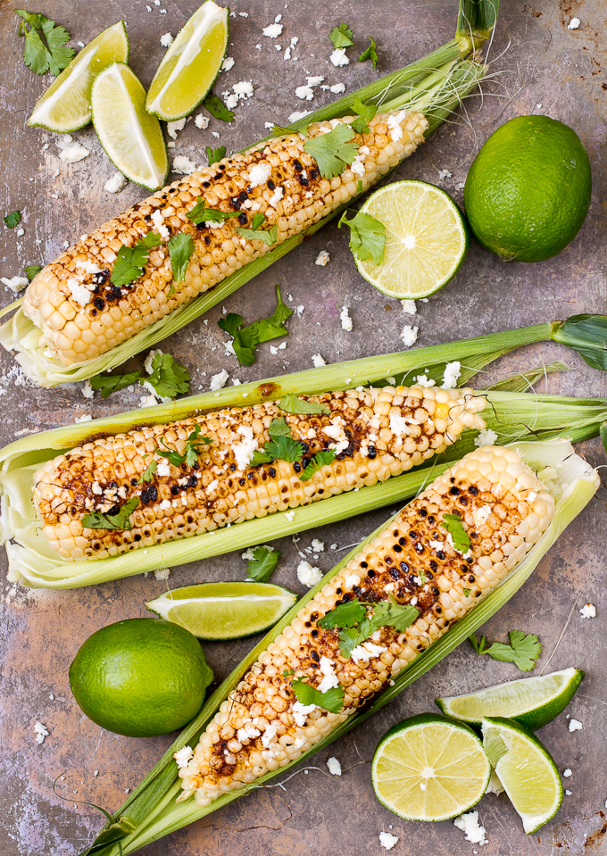 Grilled Corn with Chile Butter, Lime & Queso Fresco