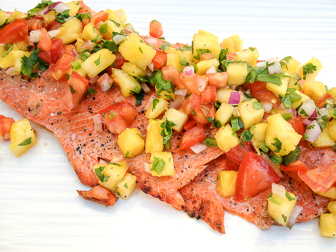 Grilled Salmon with Pineapple Jalapeño Salsa