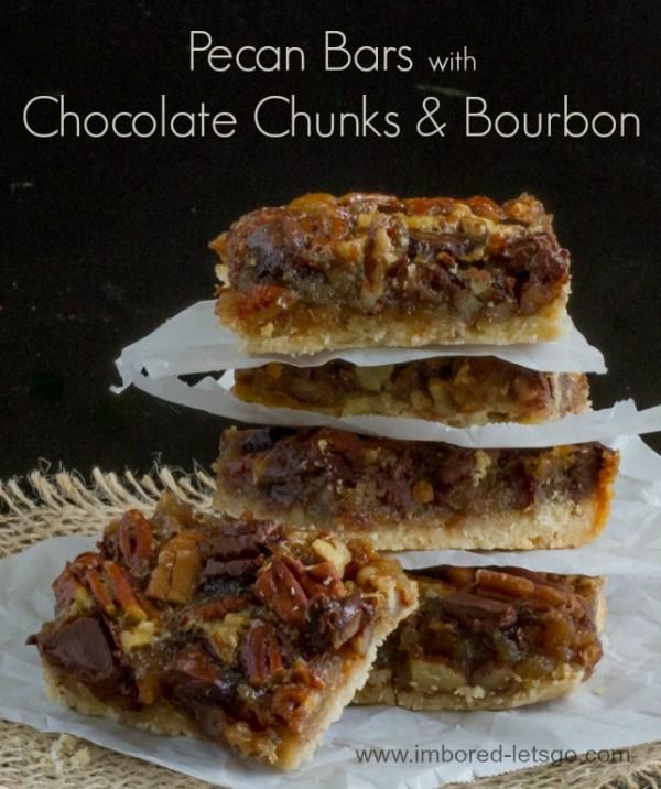 Pecan Bars with Chocolate & Bourbon