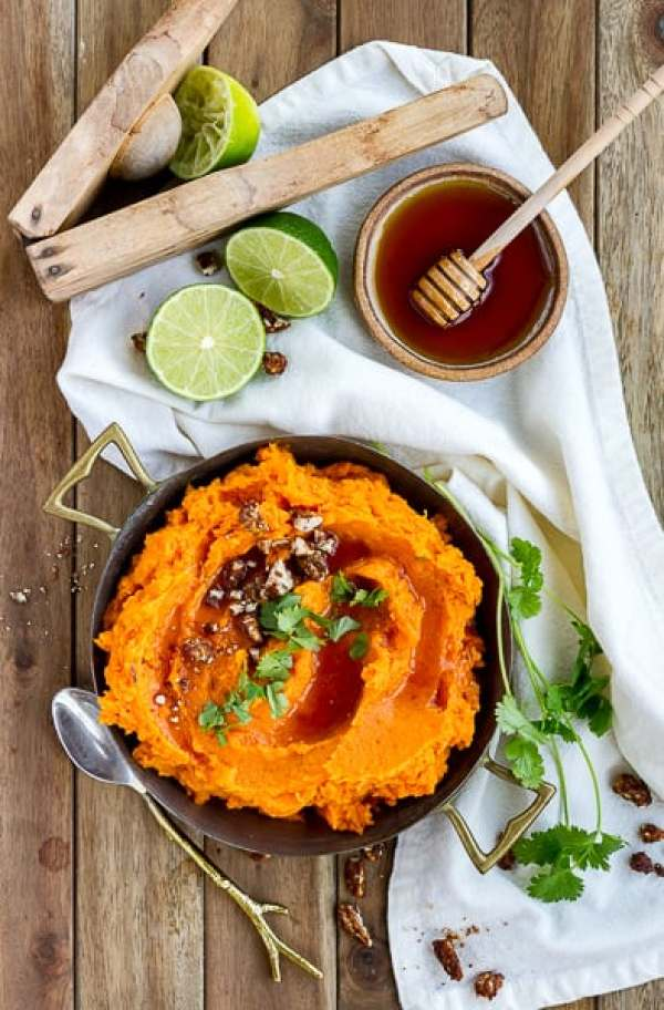 Chipotle Mashed Sweet Potatoes with Honey and Lime