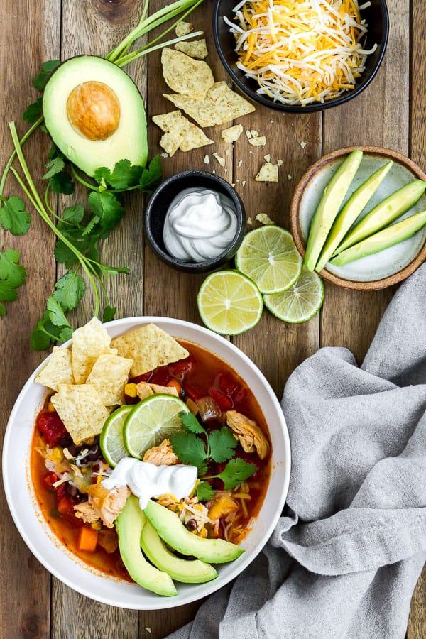 Bowl of Southwestern Chicken Soup