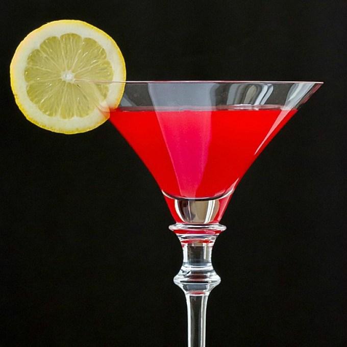 Martini w/rasperberry, peach & lemon