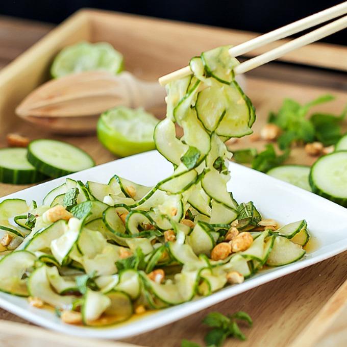 Thai Cucumber Salad with spiral sliced cucumbers