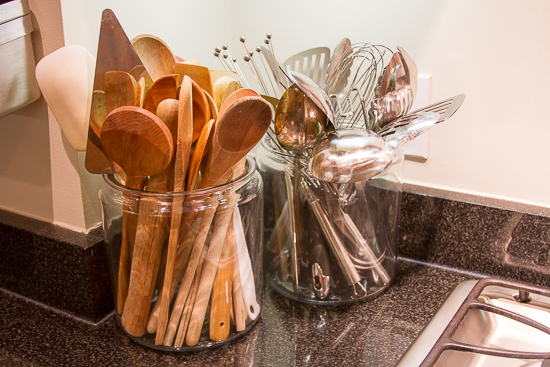 Glass Canisters are used as Utensil Holders