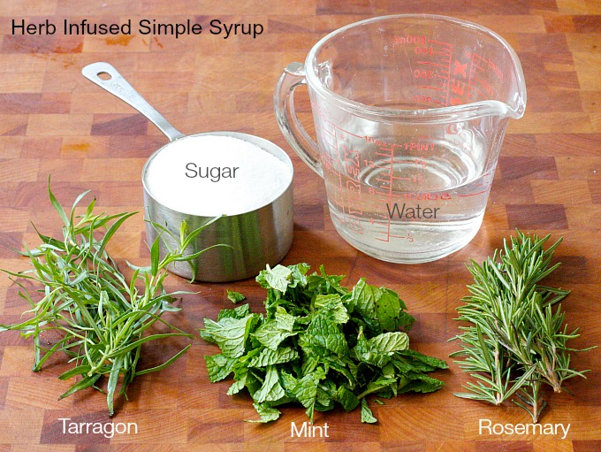 Flavored Simple Syrup with possible herbs