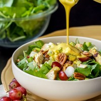 Chicken Salad with Kale, Grapes, Pecans, Celery & Curry Dressing