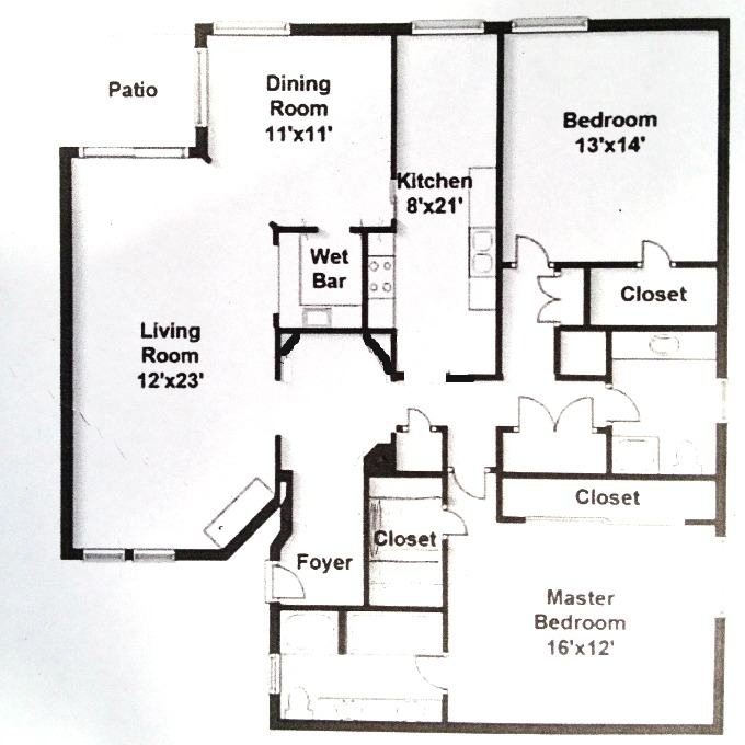 Condo Floor Plan - Before Kitchen Renovation