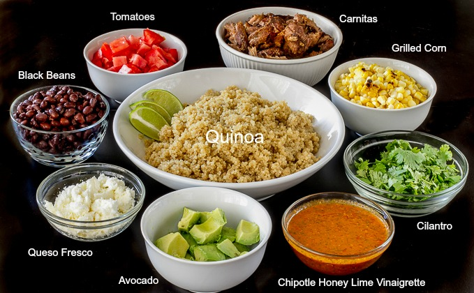 Mexican Quinoa Bowl ingredients