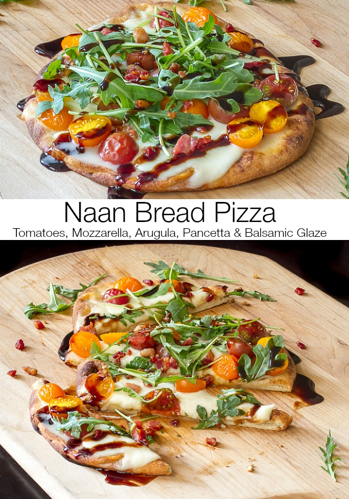 Naan Bread Pizza w/Tomatoes, Mozzarella, Pancetta & Arugula, topped off with a delicious Balsamic glaze #pizza