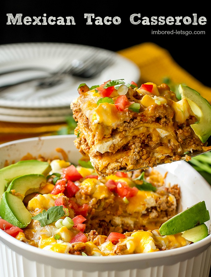 Cheesy Mexican Taco Casserole made with ground turkey