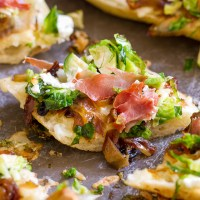 Brussels Sprouts with Prosciutto and Caramelized Onions on Ciabatta Bread