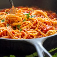 Pasta with All'amatriciana Sauce is hearty and delicious!